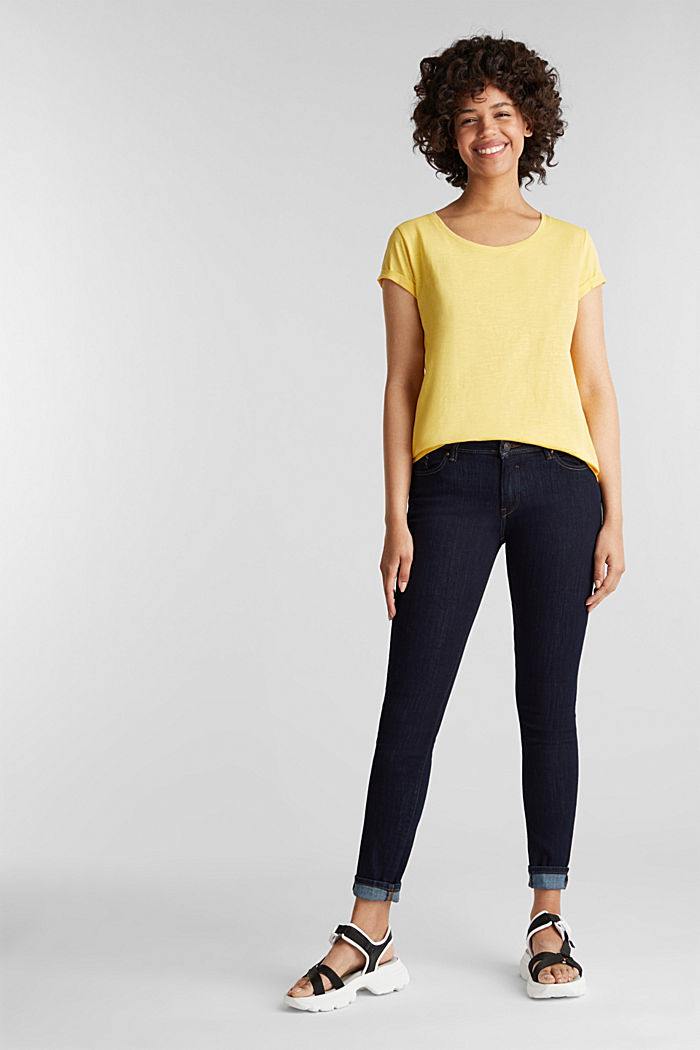 Basic top with organic cotton, LIGHT YELLOW, detail image number 1