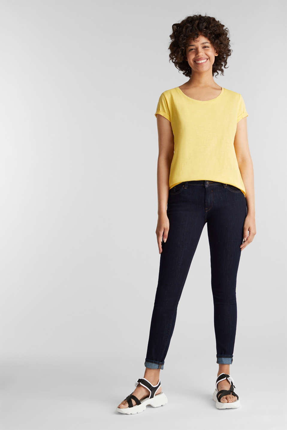T-shirt containing organic cotton, LIGHT YELLOW, detail image number 1