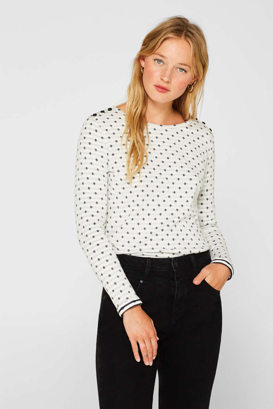 Soft, double-faced long sleeve top, 100% cotton, OFF WHITE, detail image number 0