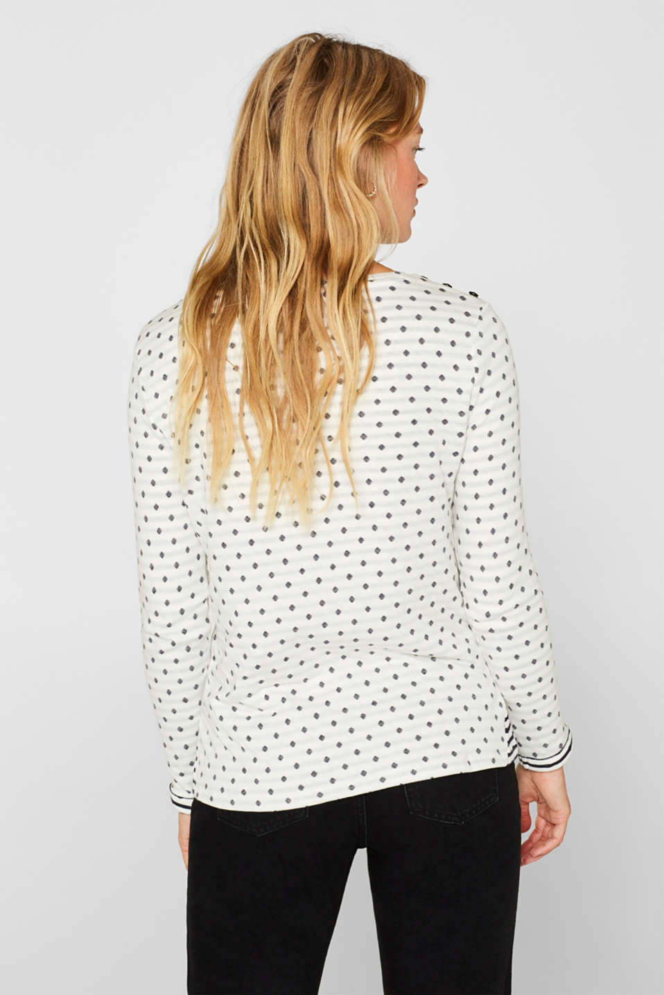 Soft, double-faced long sleeve top, 100% cotton, OFF WHITE, detail image number 3