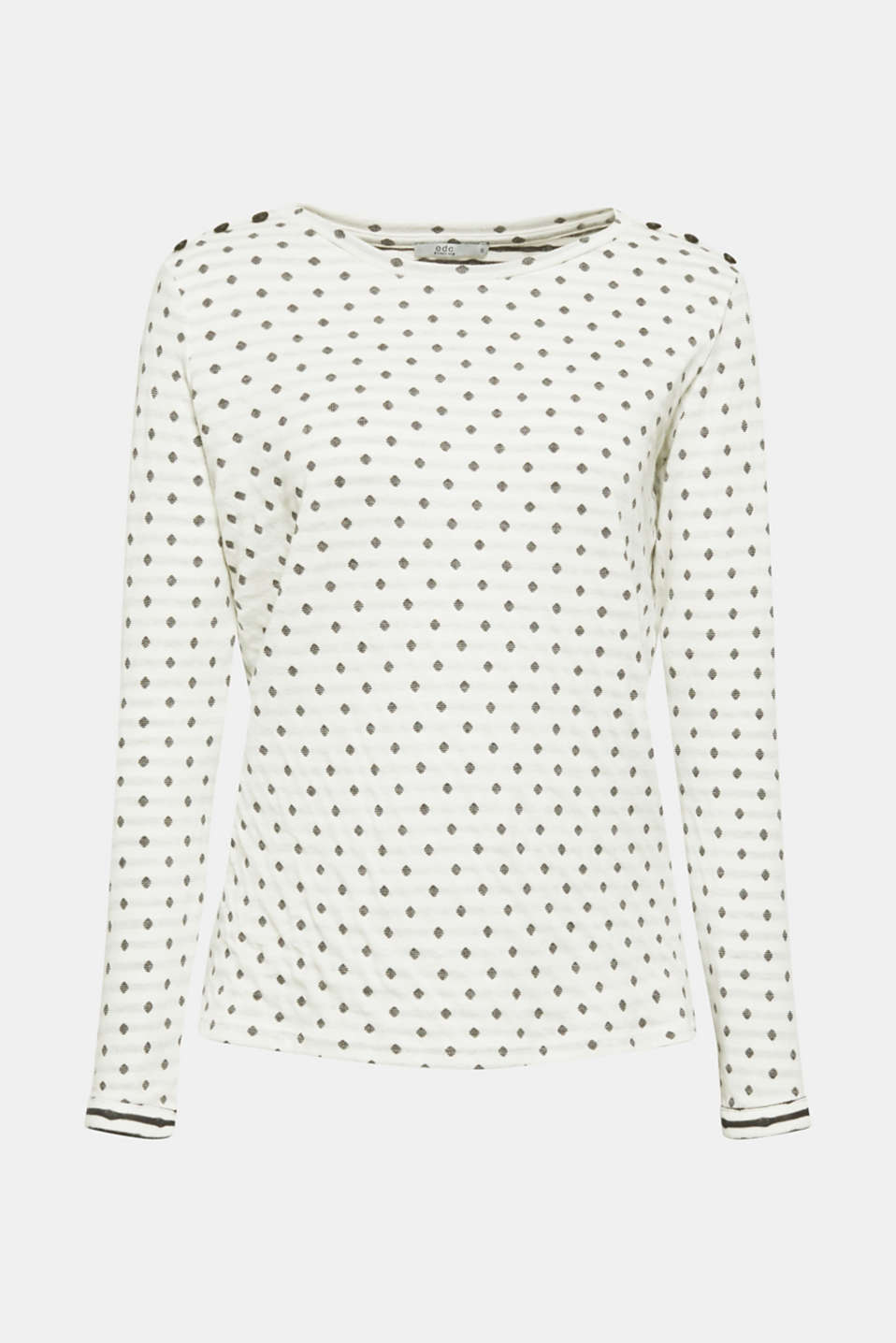 Soft, double-faced long sleeve top, 100% cotton, OFF WHITE, detail image number 6