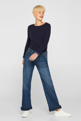 Soft, double-faced long sleeve top, 100% cotton, NAVY, detail