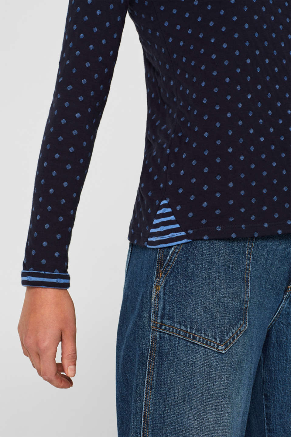 Soft, double-faced long sleeve top, 100% cotton, NAVY, detail image number 2
