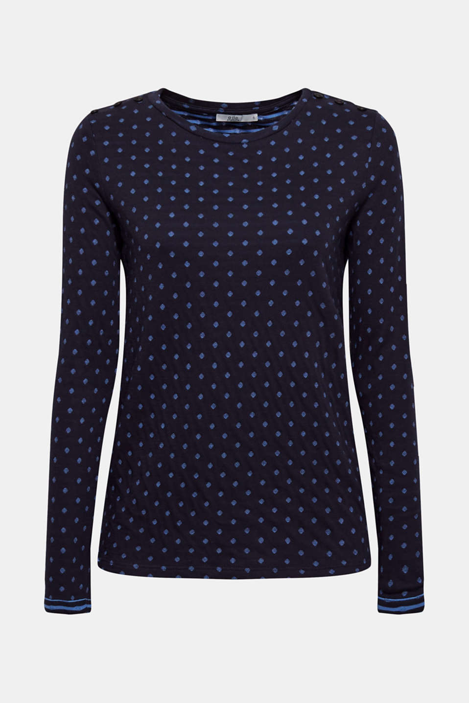 Soft, double-faced long sleeve top, 100% cotton, NAVY, detail image number 7