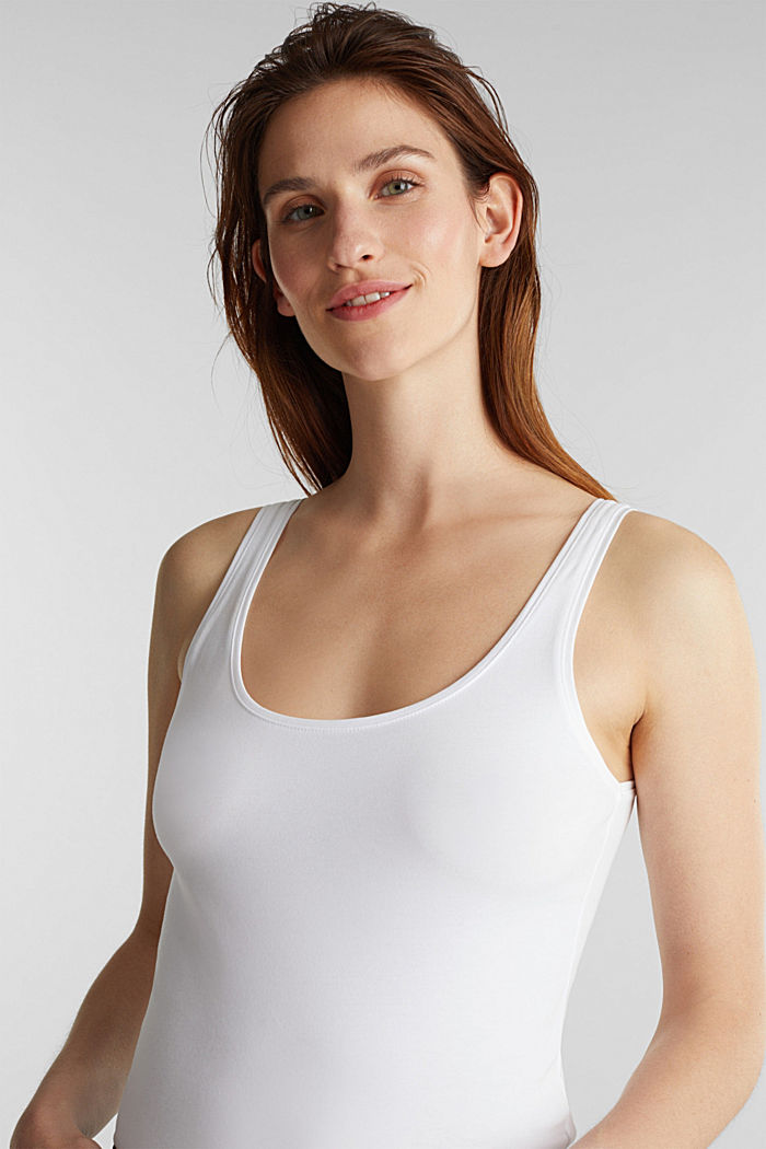 Stretch vest containing organic cotton, WHITE, detail image number 1