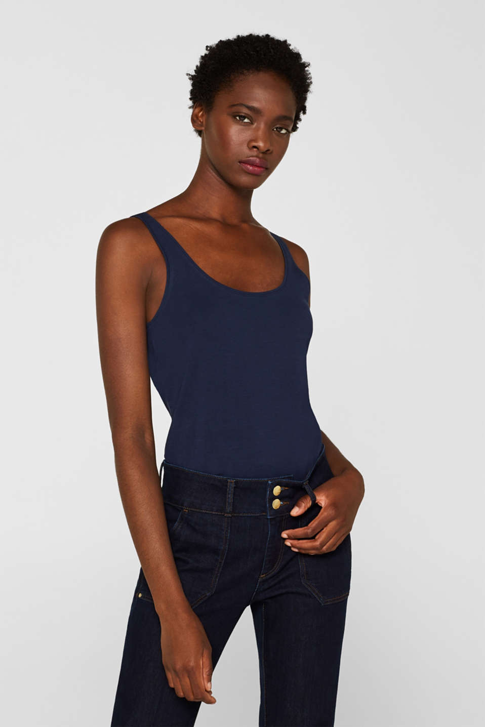 Stretch vest containing organic cotton, NAVY, detail image number 0