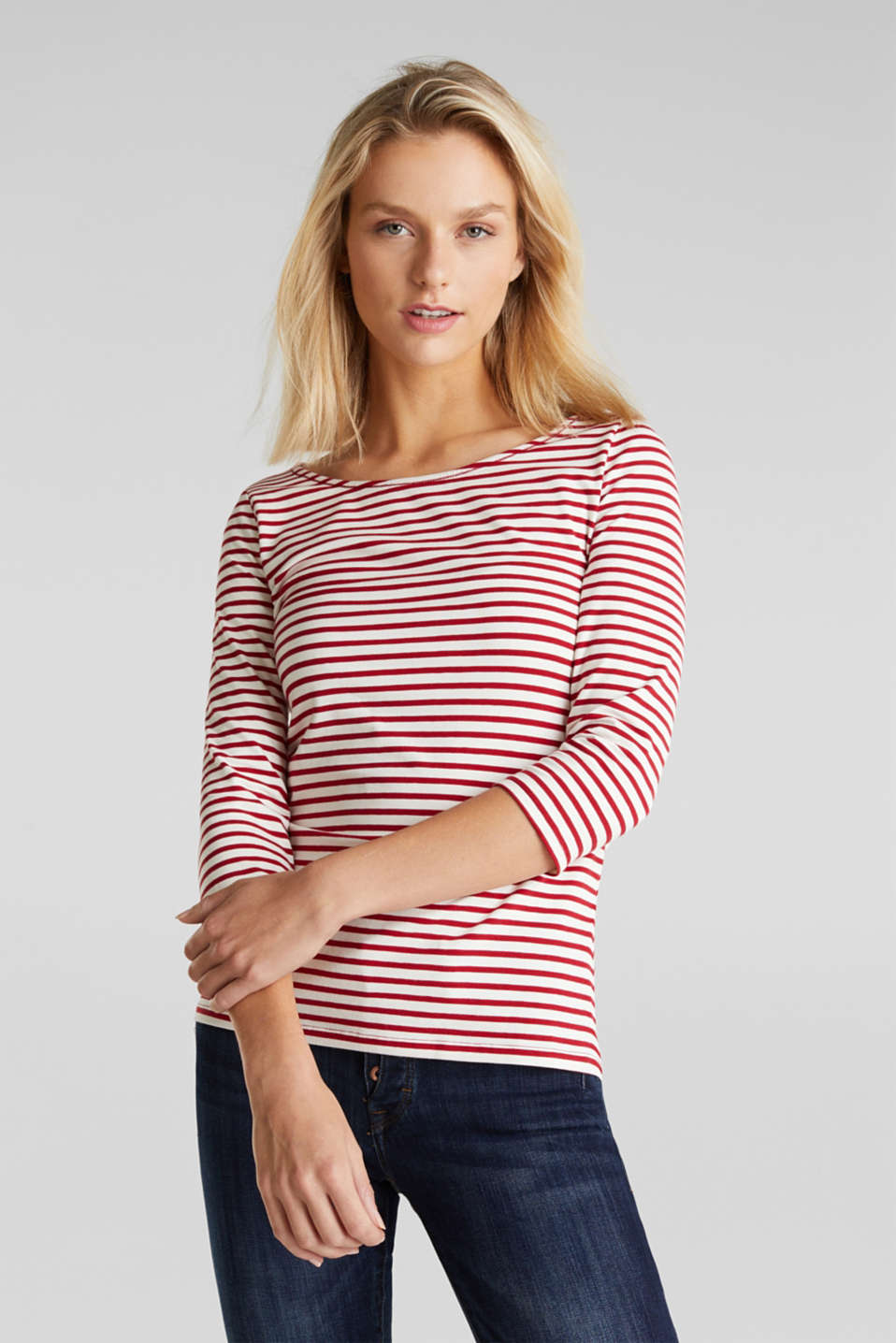 edc - Striped T-shirt containing organic cotton