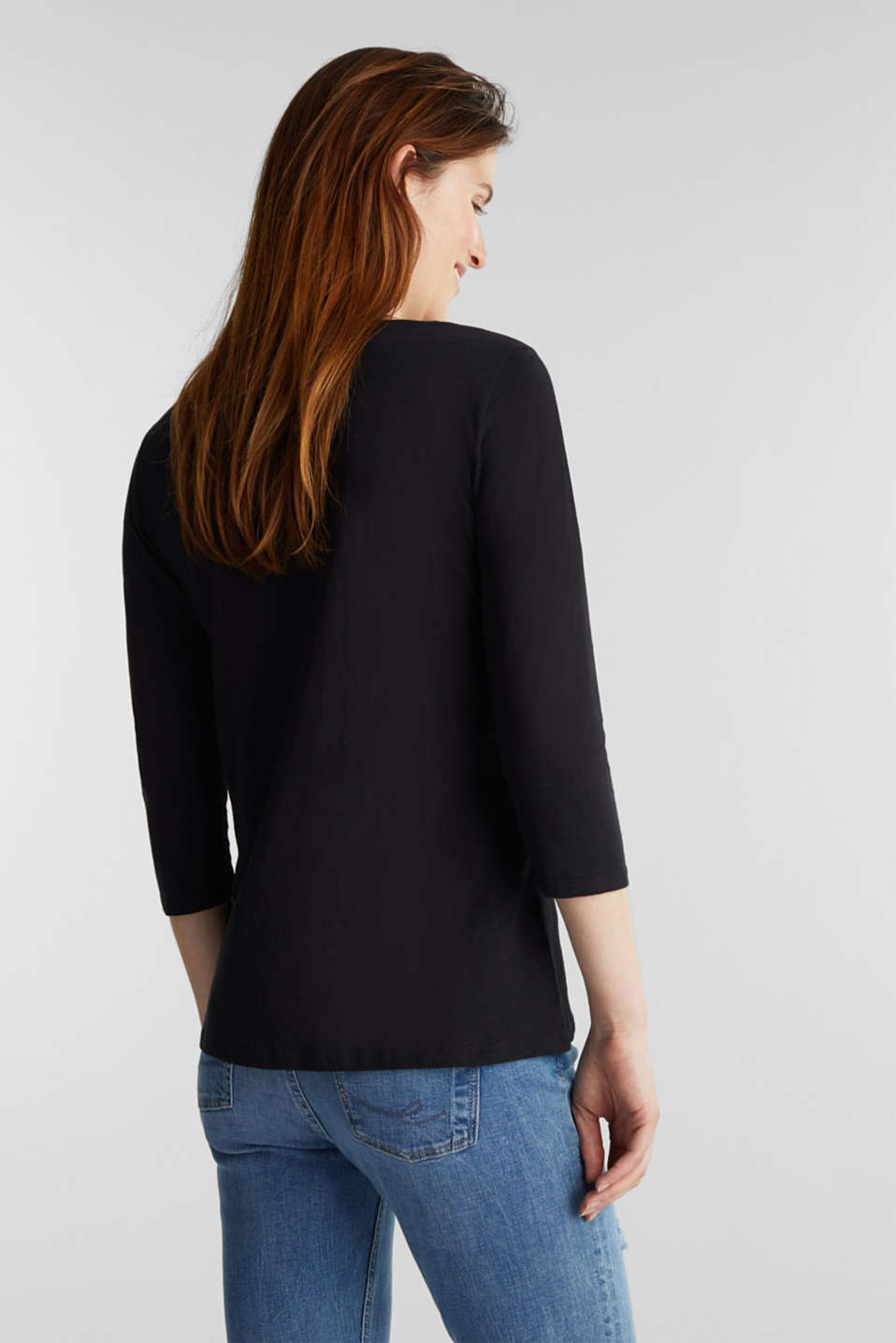 Slub top with 3/4-length sleeves, 100% cotton, BLACK, detail image number 3