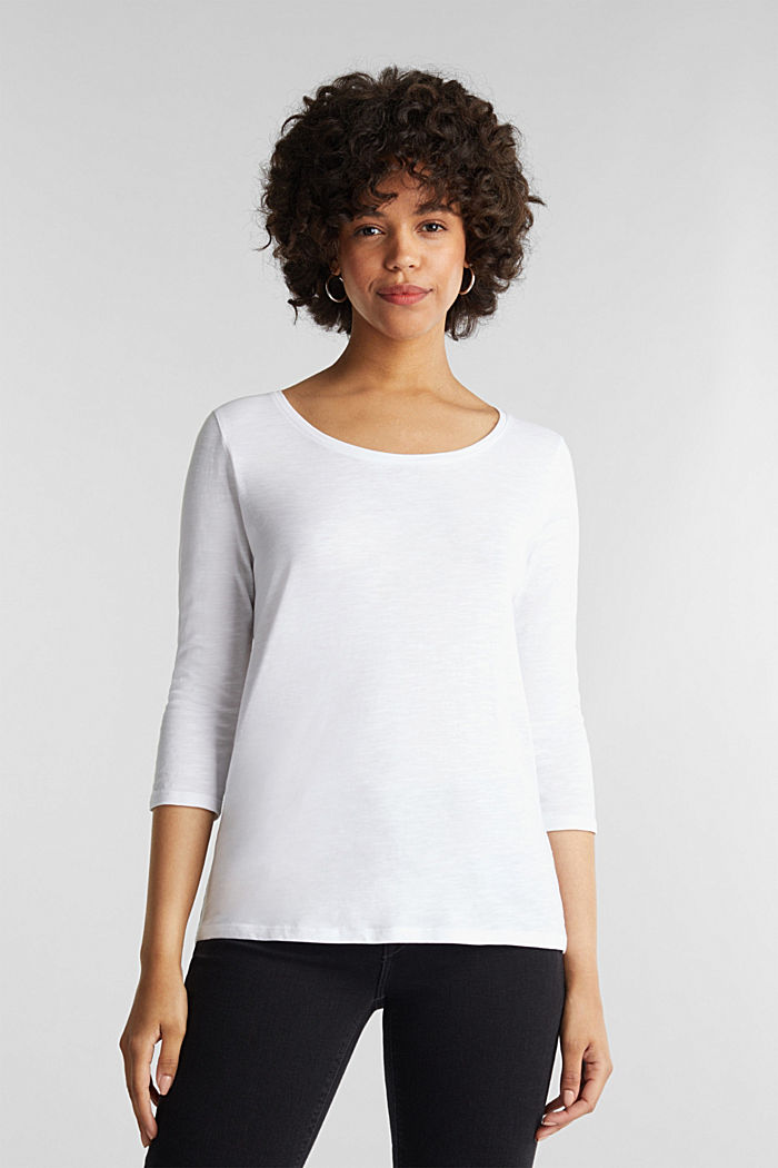 Baumwoll-Shirt, 3/4-Ärmel, WHITE, detail image number 0