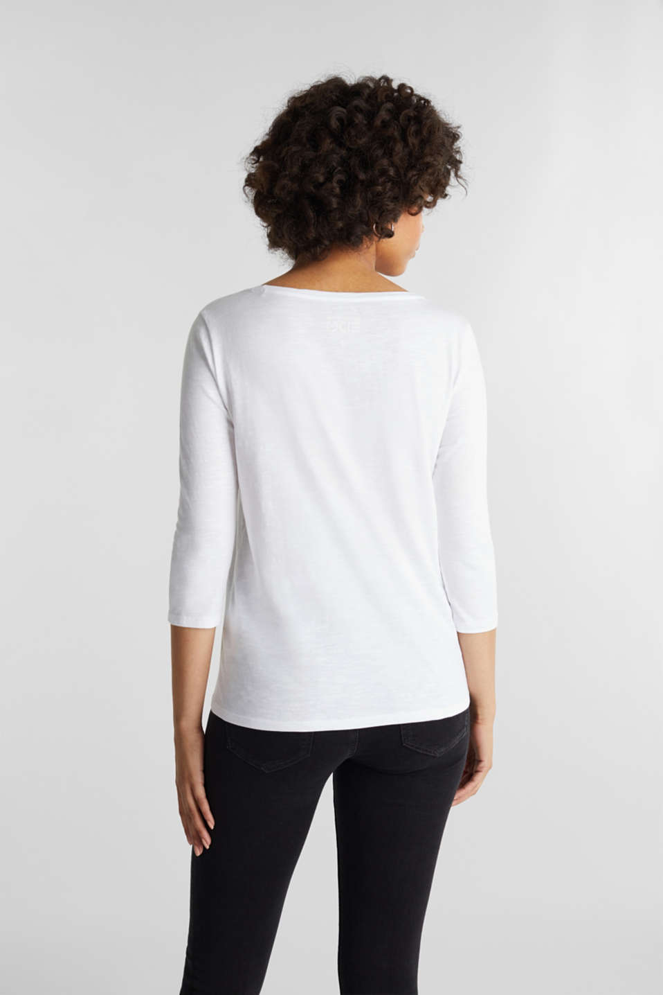 Slub top with 3/4-length sleeves, 100% cotton, WHITE, detail image number 3