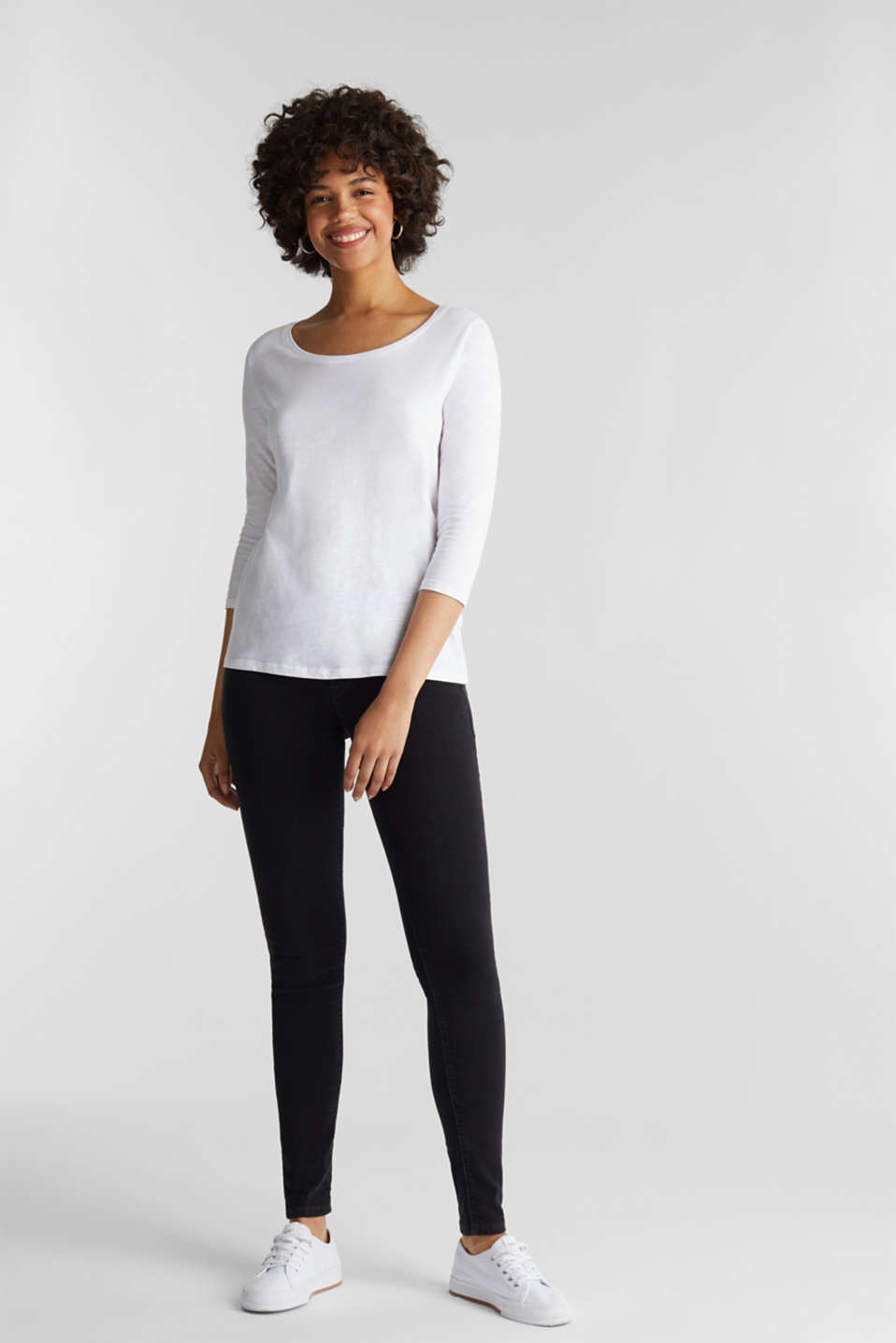 Slub top with 3/4-length sleeves, 100% cotton, WHITE, detail image number 1