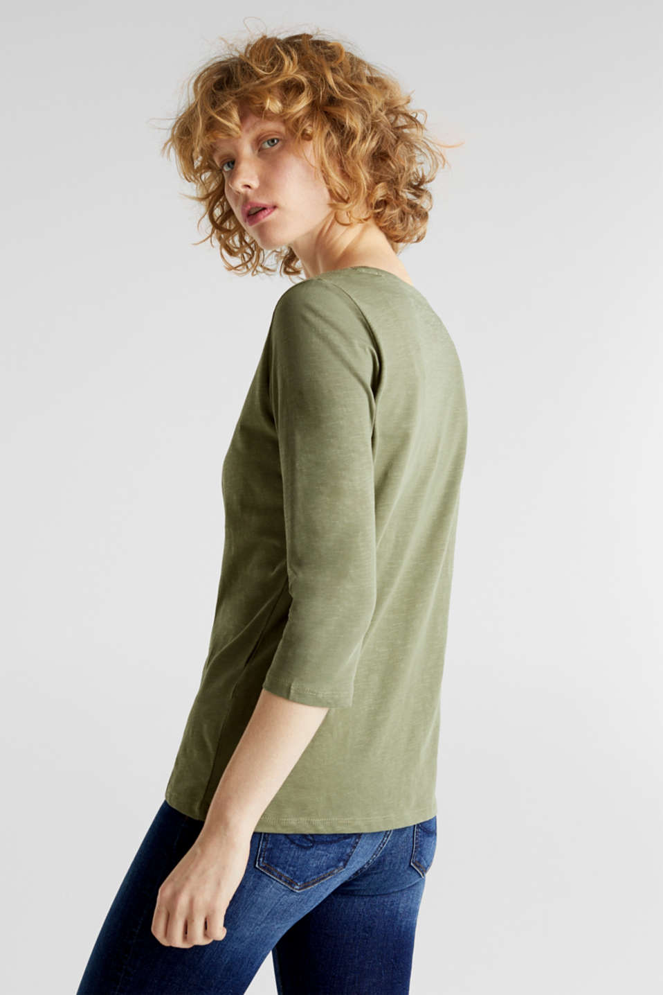 Cotton top, 3/4 sleeves, KHAKI GREEN, detail image number 3