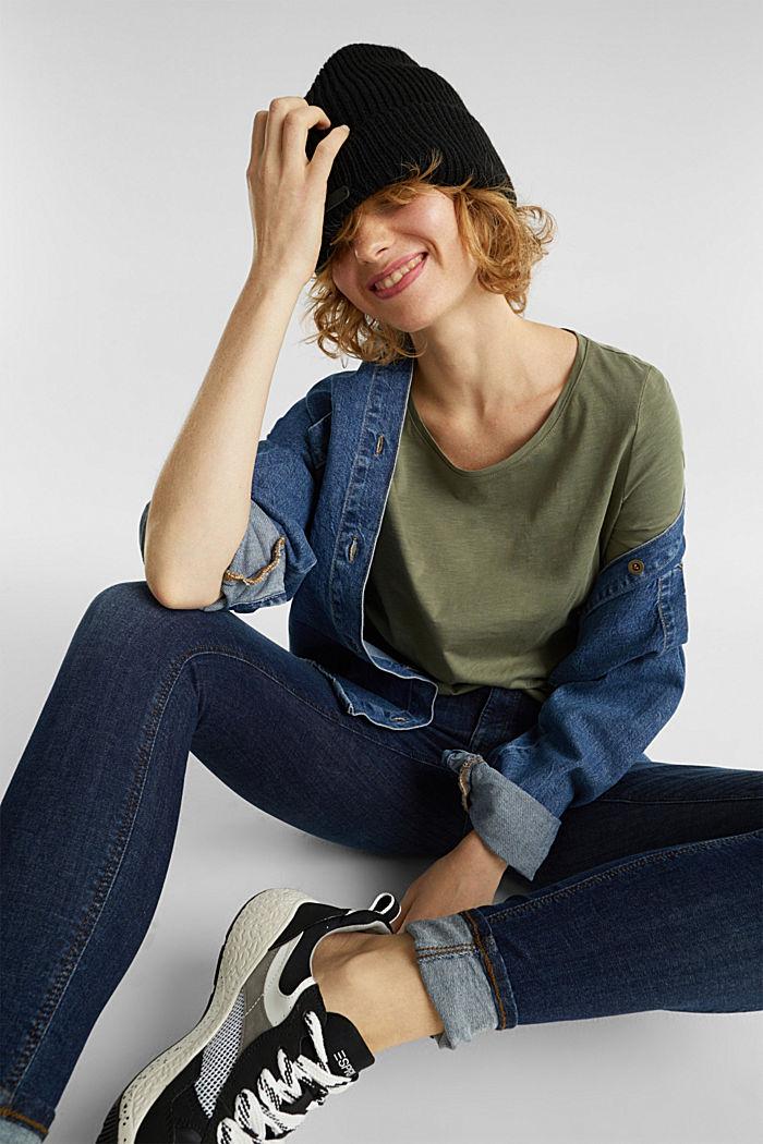 Katoenen shirt, 3/4-mouwen, KHAKI GREEN, detail image number 1