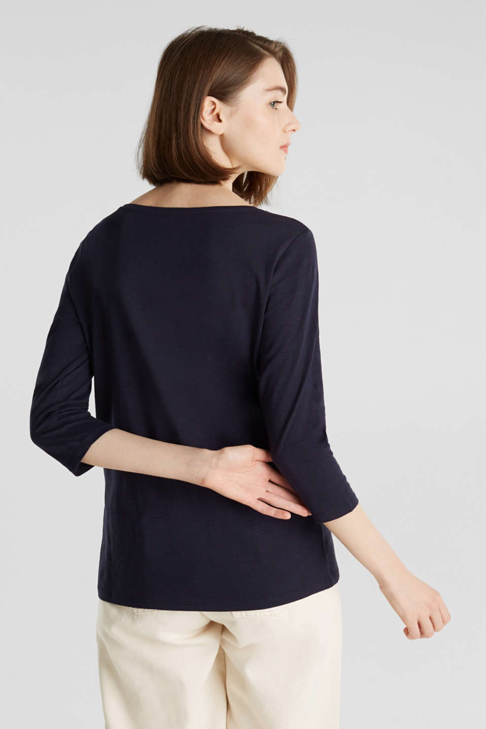 Cotton top, 3/4 sleeves, NAVY, detail image number 3