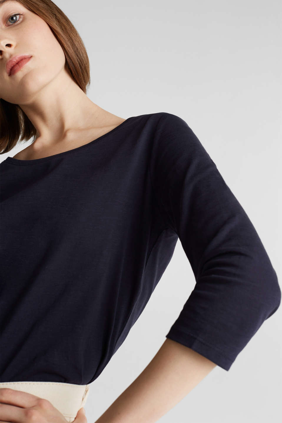 Cotton top, 3/4 sleeves, NAVY, detail image number 2