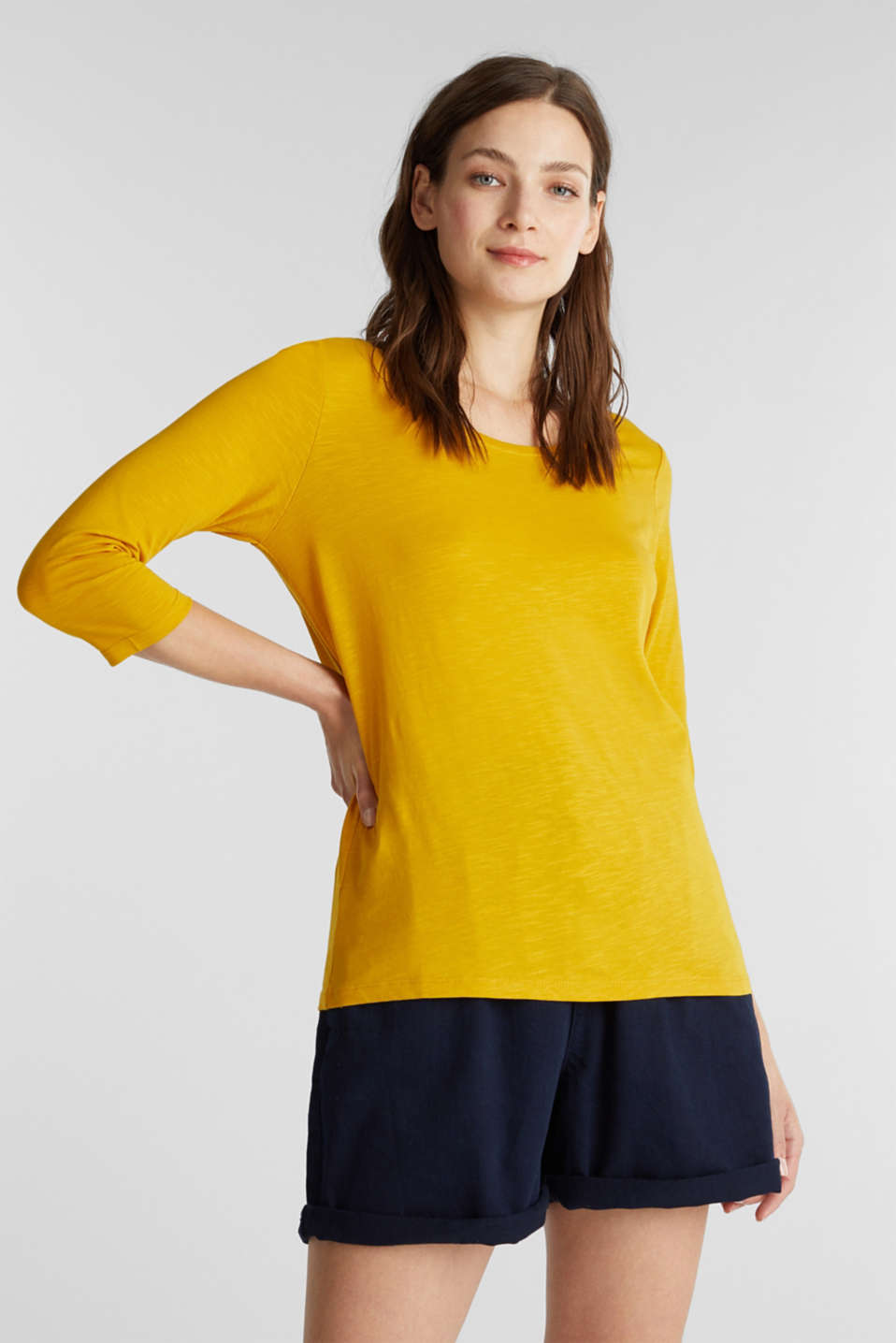 Cotton top, 3/4 sleeves, BRASS YELLOW, detail image number 0