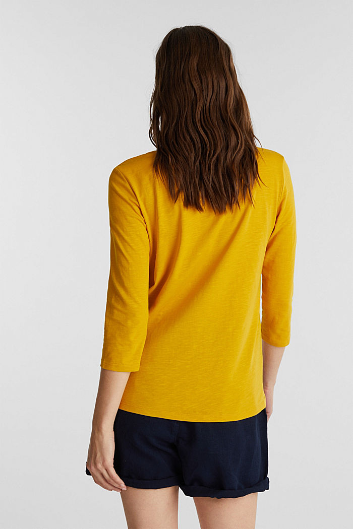 Cotton top, 3/4 sleeves, BRASS YELLOW, detail image number 3