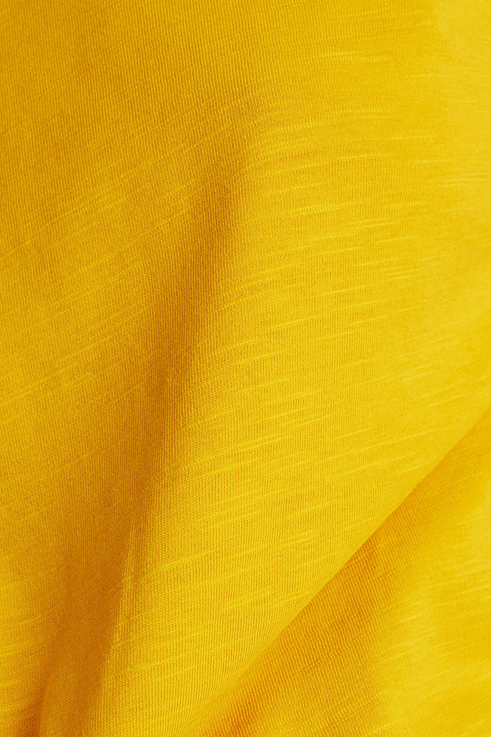 Cotton top, 3/4 sleeves, BRASS YELLOW, detail image number 4