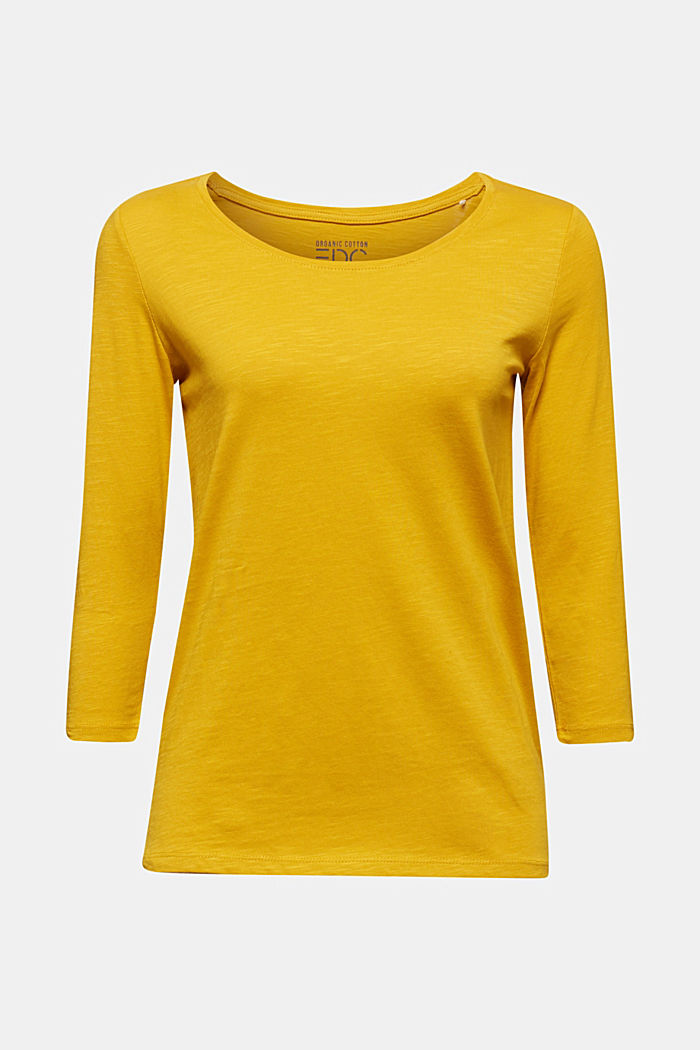 Cotton top, 3/4 sleeves, BRASS YELLOW, detail image number 5