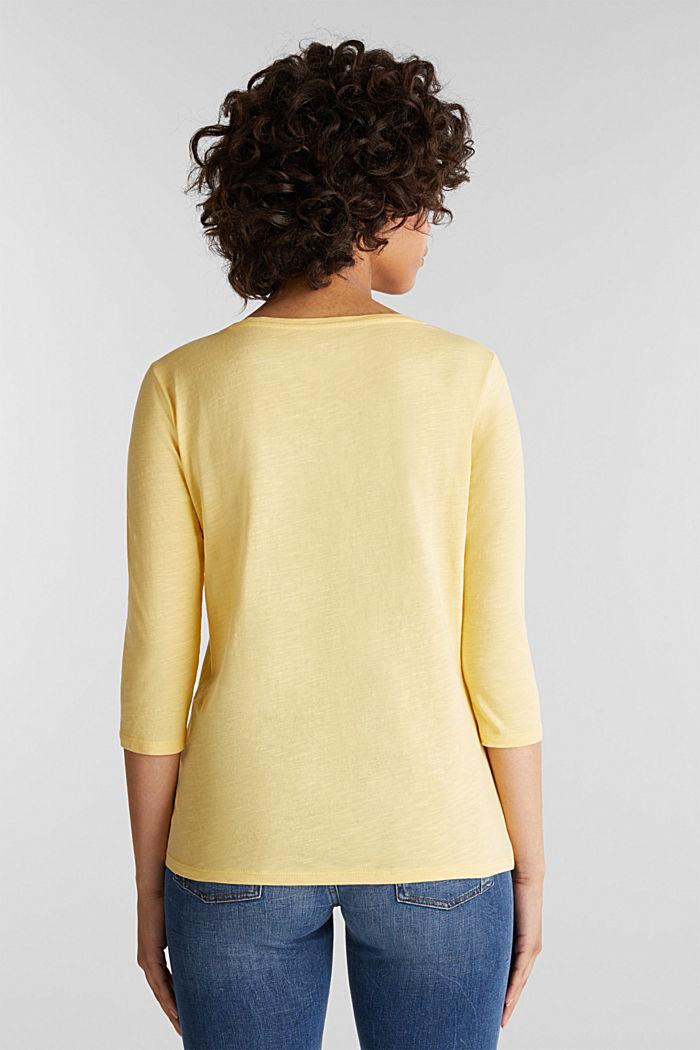 Baumwoll-Shirt, 3/4-Ärmel, LIGHT YELLOW, detail image number 3