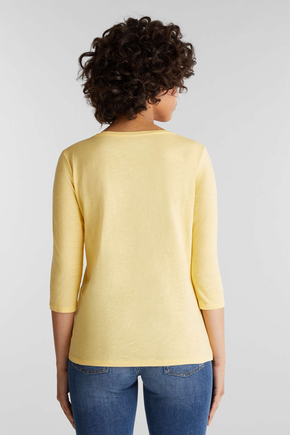 Cotton top, 3/4 sleeves, LIGHT YELLOW, detail image number 3
