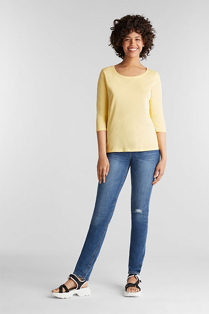Cotton top, 3/4 sleeves, LIGHT YELLOW, detail image number 1