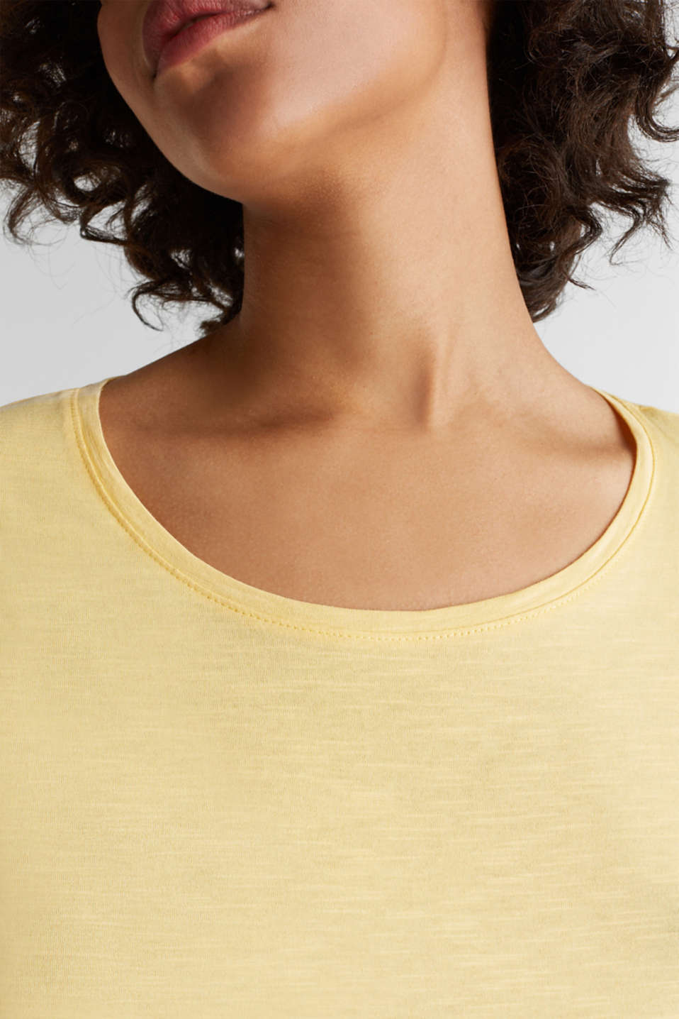 Cotton top, 3/4 sleeves, LIGHT YELLOW, detail image number 2