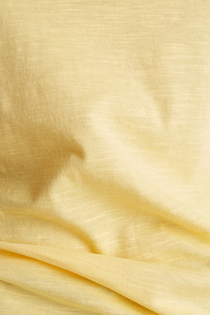 Cotton top, 3/4 sleeves, LIGHT YELLOW, detail image number 4