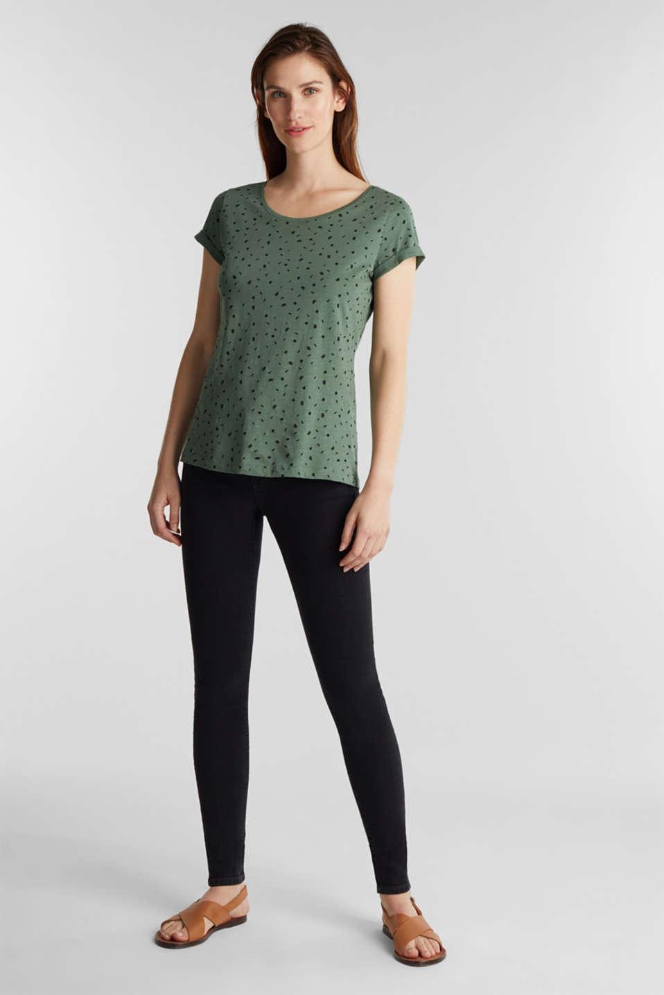 Slub T-shirt with print, 100% cotton, KHAKI GREEN, detail image number 1