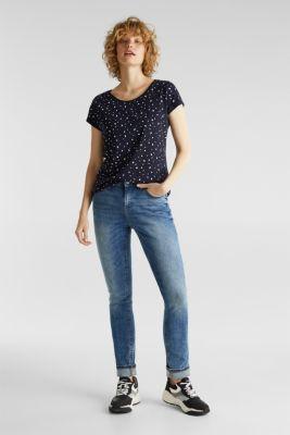 Slub T-shirt with print, 100% cotton, NAVY, detail