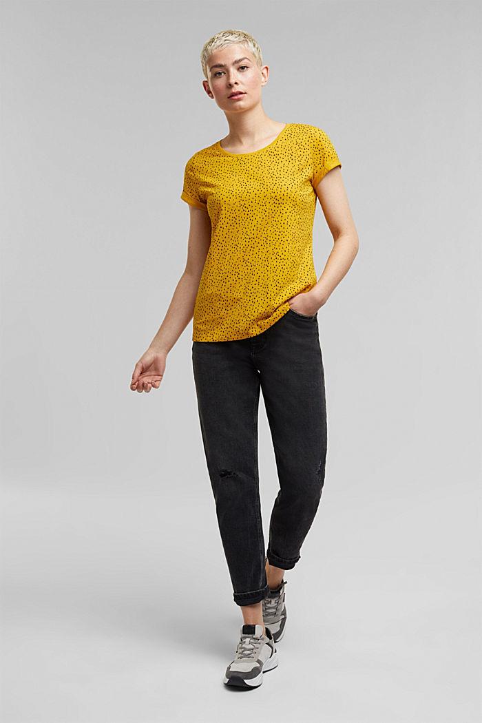 Slub T-shirt with print, 100% cotton, BRASS YELLOW, detail image number 5