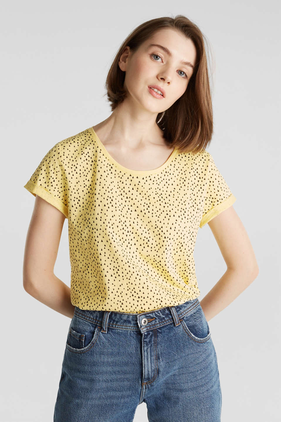 Slub T-shirt with print, 100% cotton, LIGHT YELLOW, detail image number 0