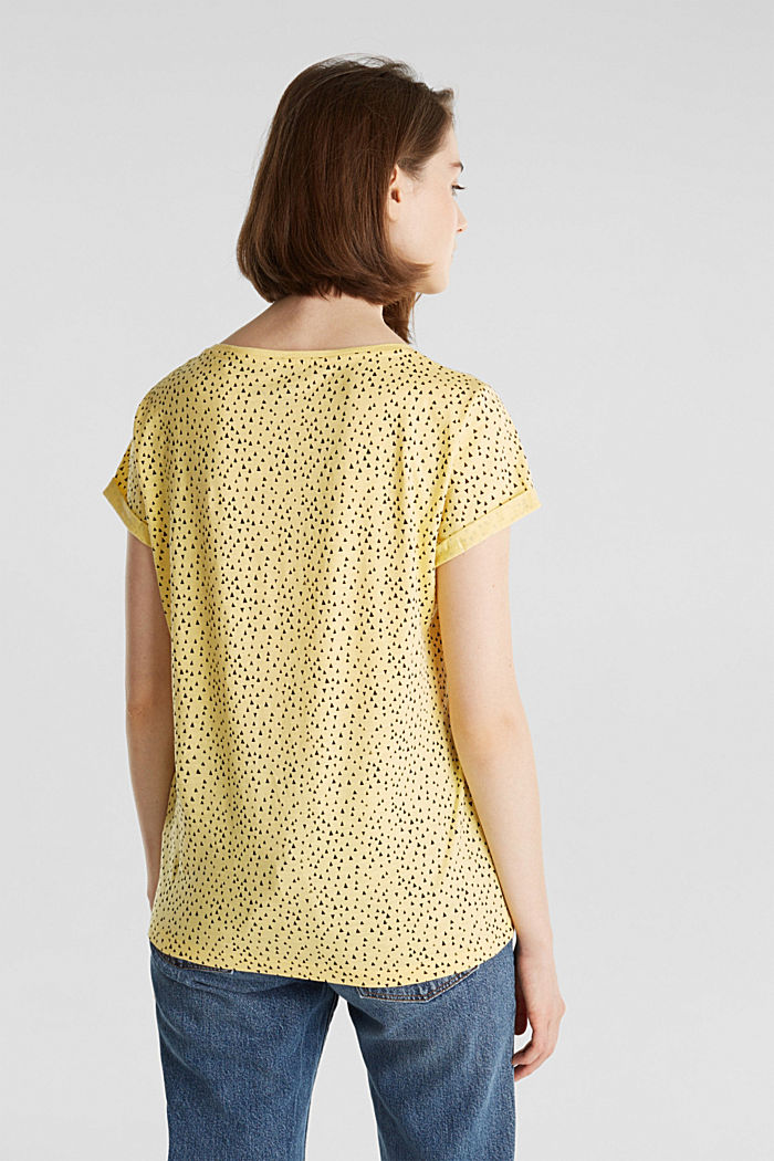Slub jersey shirt met print, 100% katoen, LIGHT YELLOW, detail image number 3