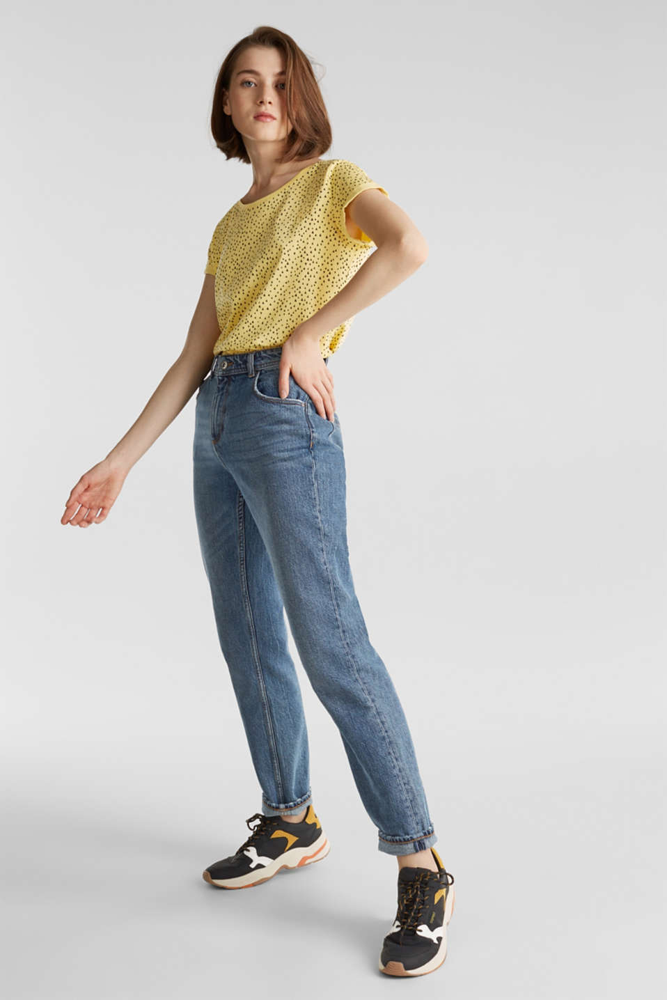 Slub T-shirt with print, 100% cotton, LIGHT YELLOW, detail image number 6