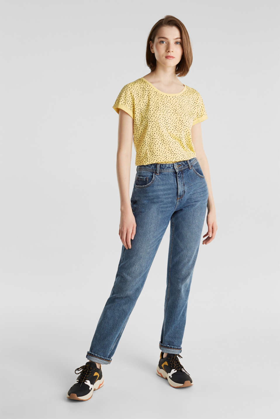 Slub T-shirt with print, 100% cotton, LIGHT YELLOW, detail image number 1
