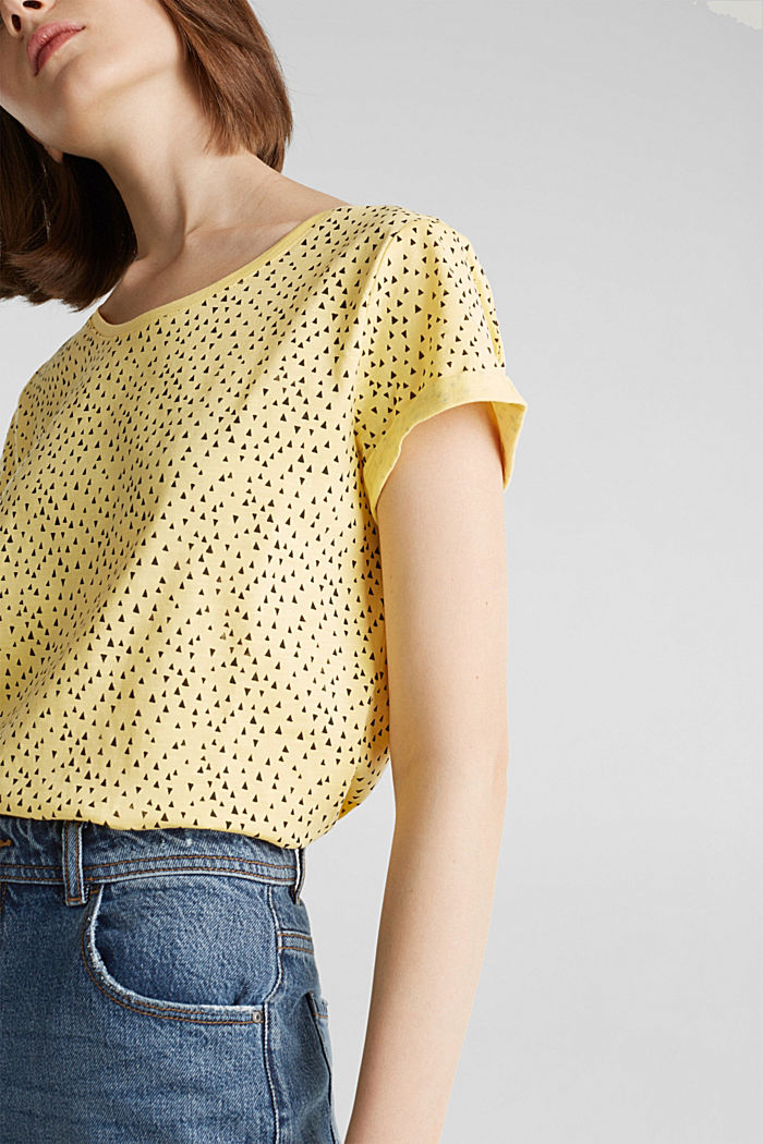 Slub T-shirt with print, 100% cotton, LIGHT YELLOW, detail image number 2