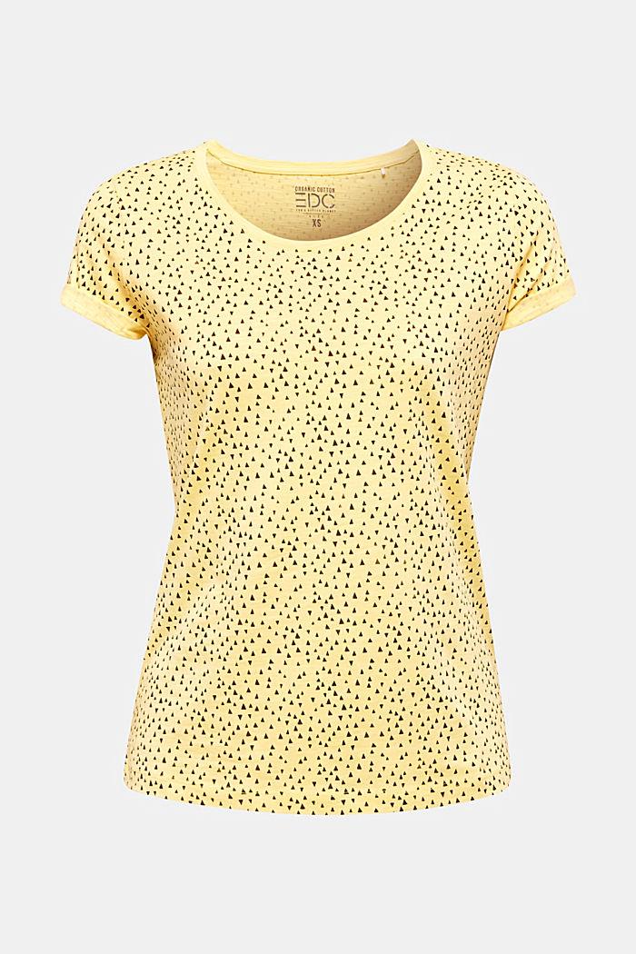 Slub jersey shirt met print, 100% katoen, LIGHT YELLOW, detail image number 7