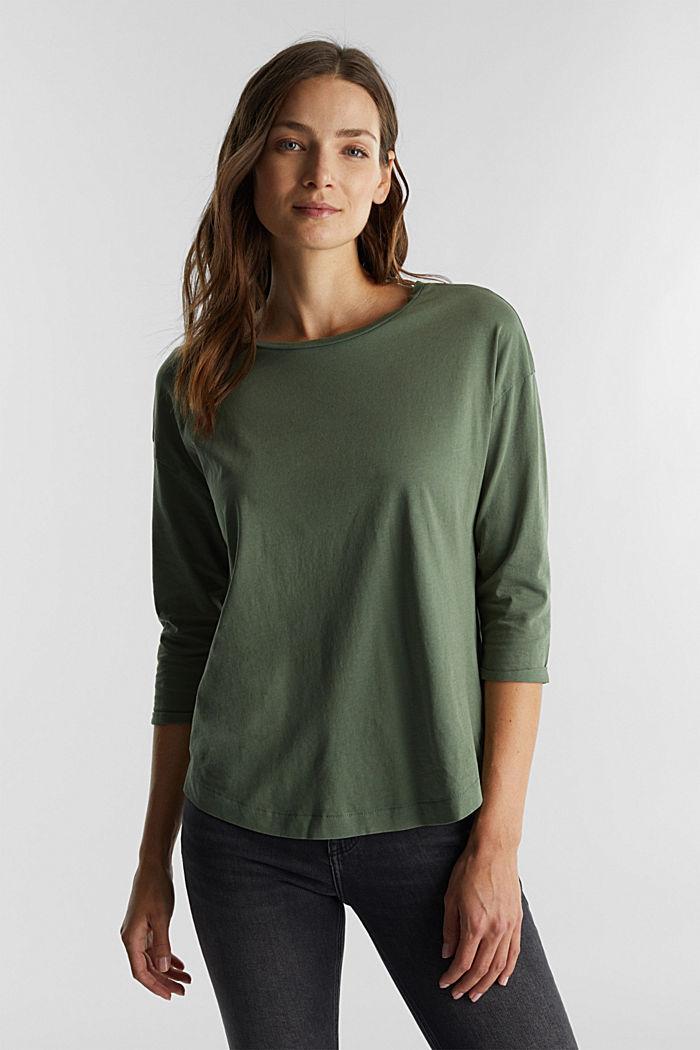 Jersey-Shirt aus 100% Organic Cotton, KHAKI GREEN, detail image number 0