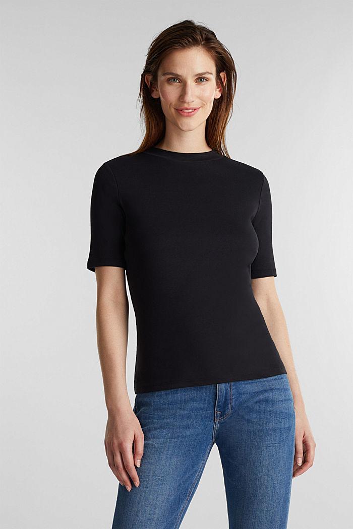 Stehbund-Shirt, 100% Baumwolle, BLACK, detail image number 0