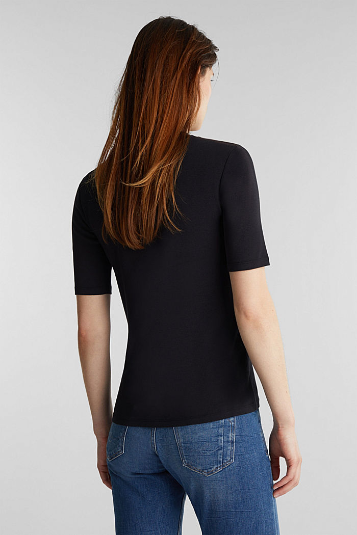 Top with a band collar, 100% cotton, BLACK, detail image number 3