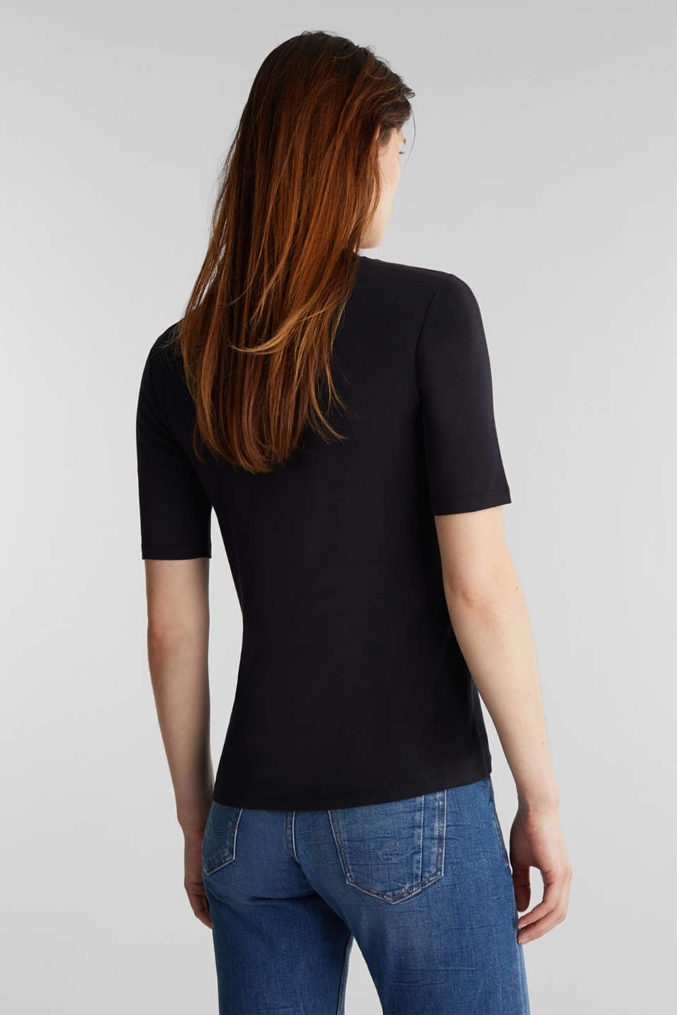 T-shirt with a stand-up collar, 100% cotton, BLACK, detail image number 3