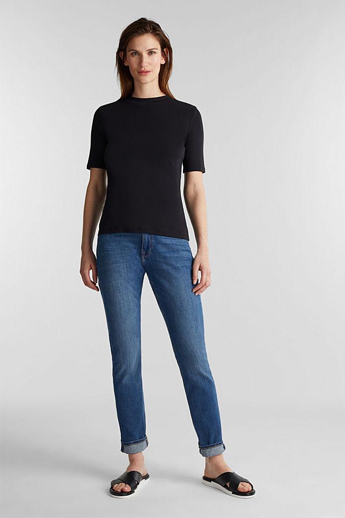 Stehbund-Shirt, 100% Baumwolle, BLACK, detail image number 1