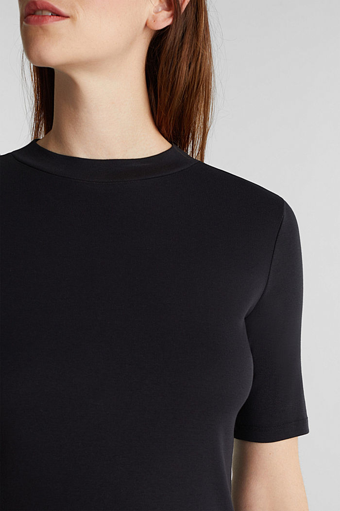 Top with a band collar, 100% cotton, BLACK, detail image number 2