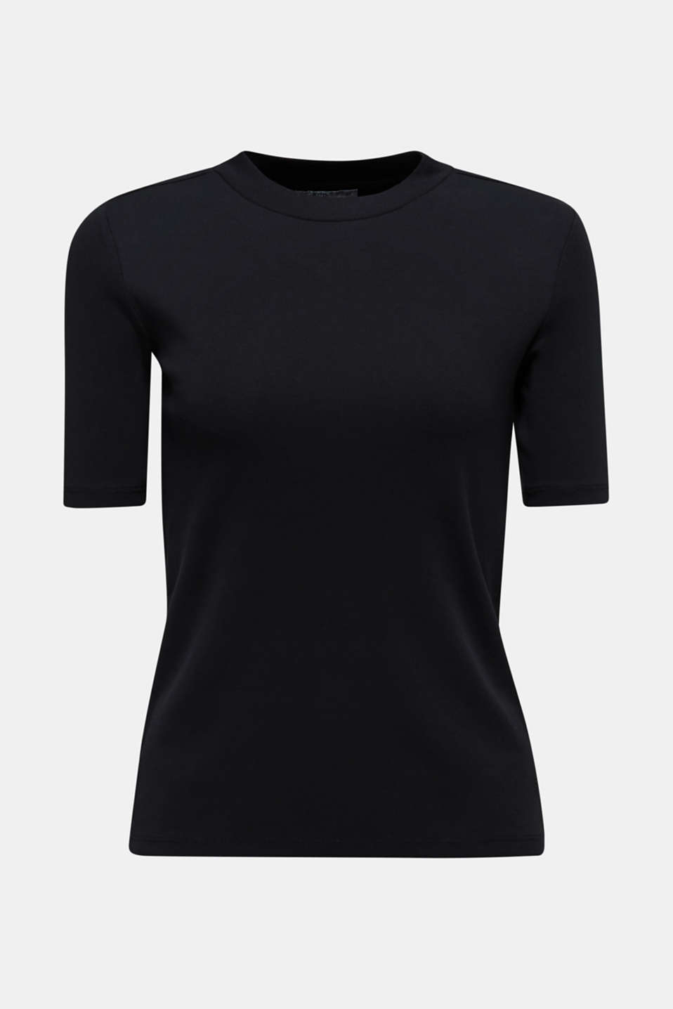 T-shirt with a stand-up collar, 100% cotton, BLACK, detail image number 5