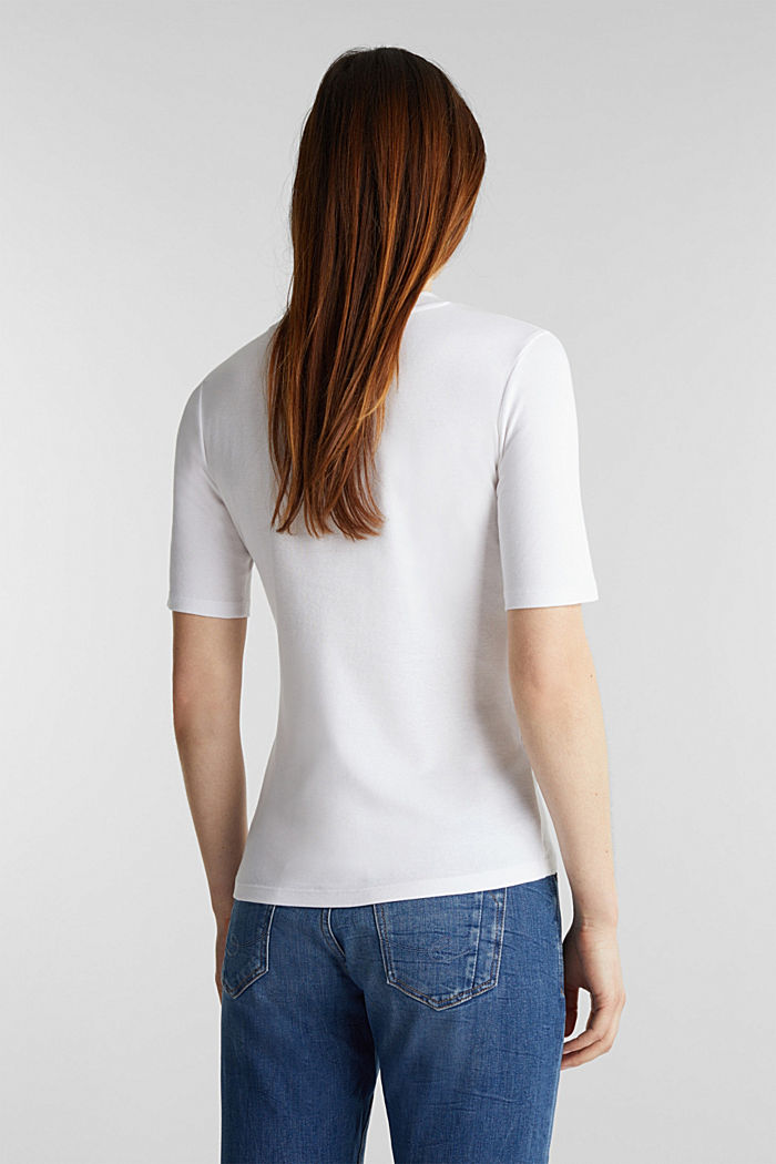 Top with a band collar, 100% cotton, WHITE, detail image number 3