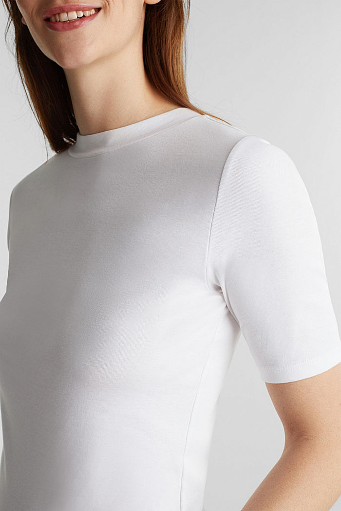 Top with a band collar, 100% cotton, WHITE, detail image number 2
