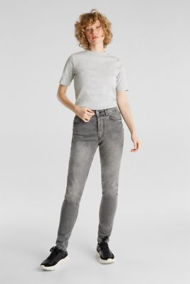 Melange tee with a stand-up collar, LIGHT GREY 5, detail