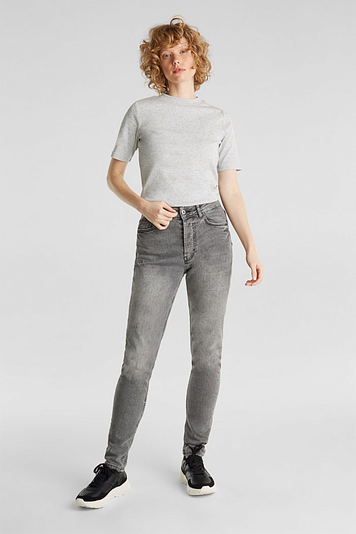 Melange tee with a stand-up collar, LIGHT GREY, detail image number 1