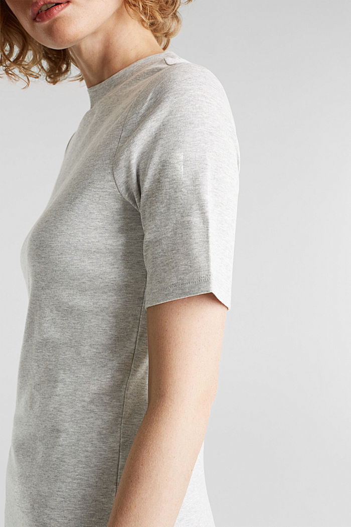 Melange tee with a stand-up collar, LIGHT GREY, detail image number 2