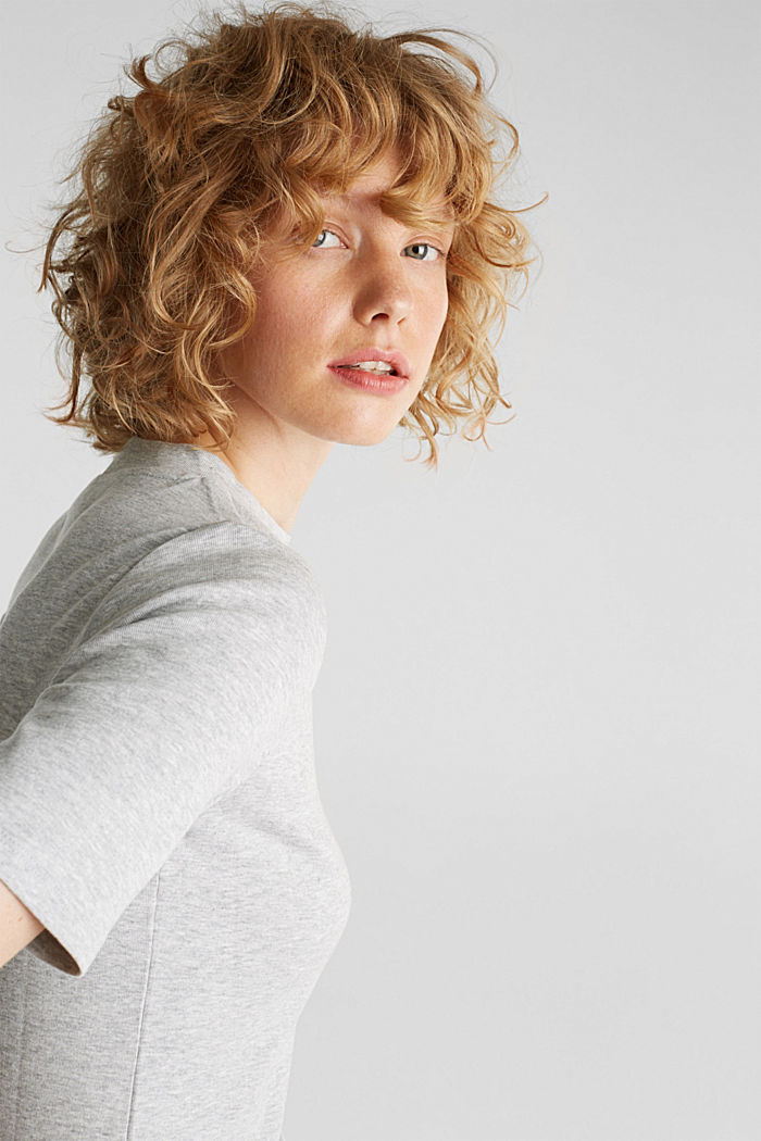 Melange tee with a stand-up collar, LIGHT GREY, detail image number 5